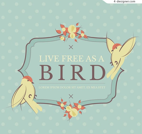 Retro bird decoration Tags