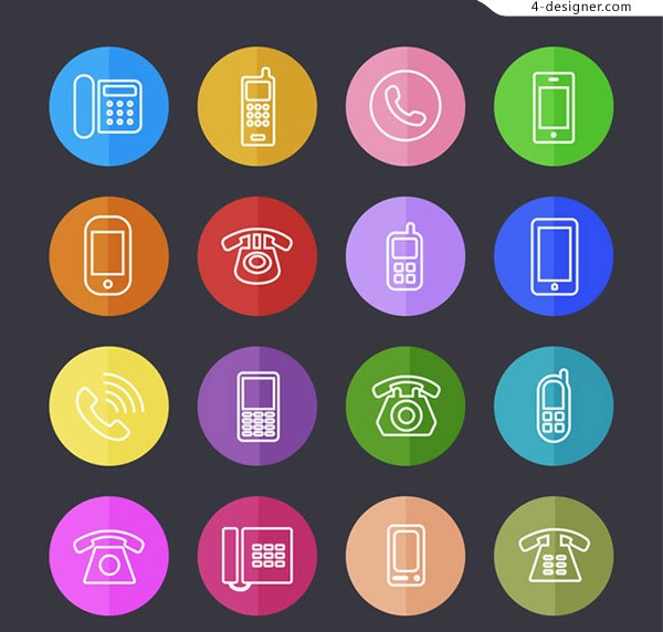 Round phone icon vector