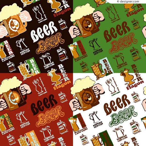 Seamless background of beer elements