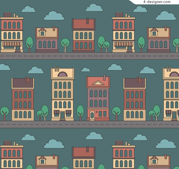 Seamless background of cartoon building