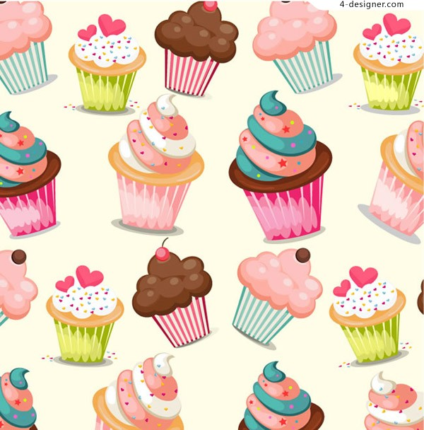 Seamless background of cupcakes