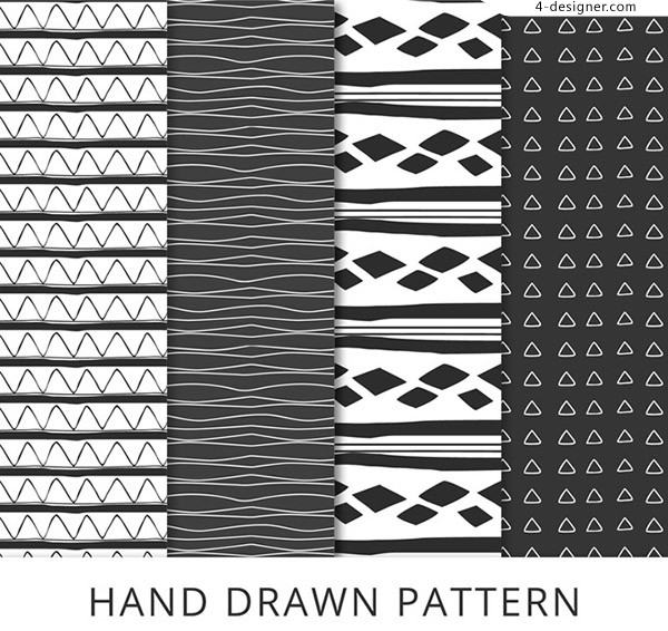 Seamless background of hand drawn patterns