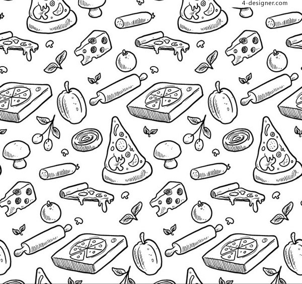 Seamless background of hand painted pizza