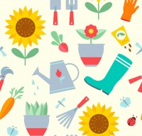 Seamless background of horticultural tools