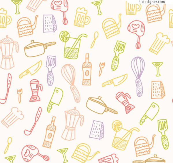 Seamless background of kitchen articles