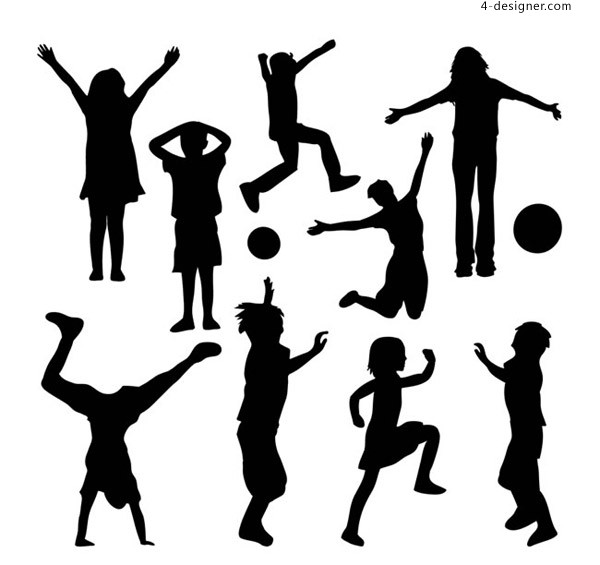 Silhouette vector for playing children