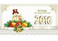 Snowman New Year greeting card vector