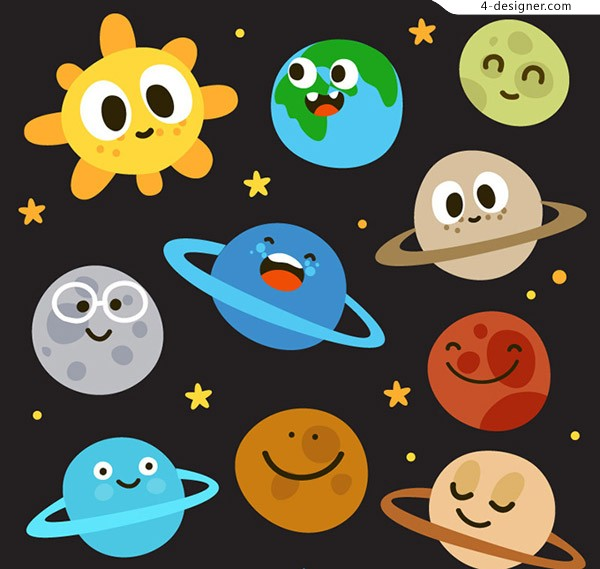 The sun and nine planets