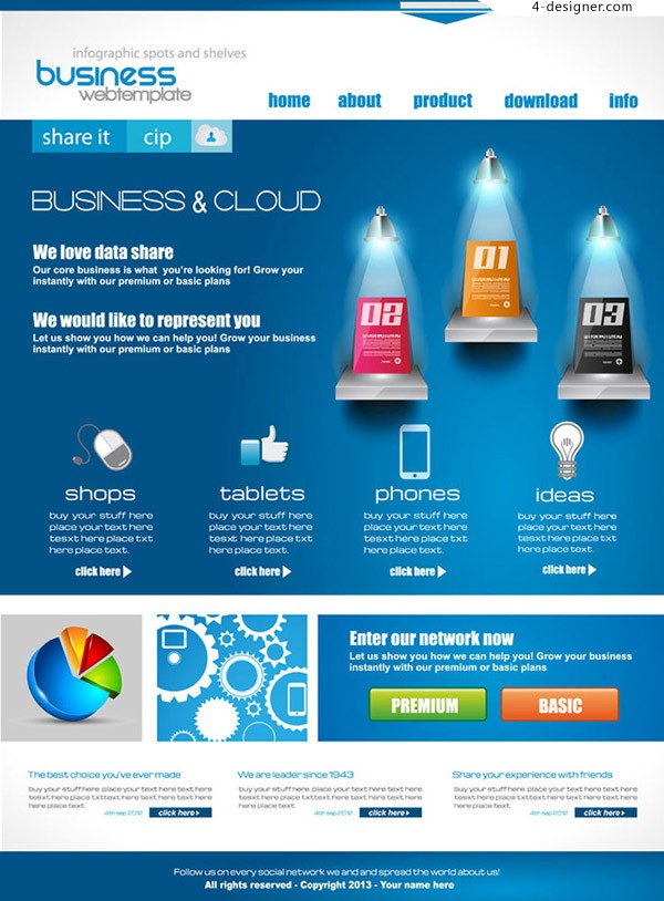 Themes of web business elements