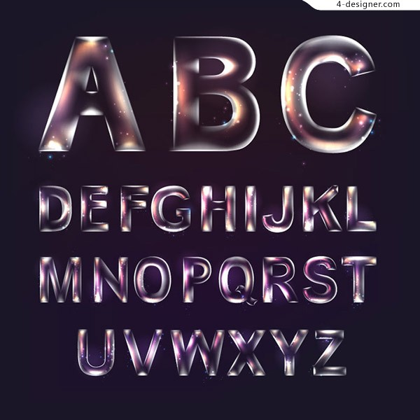 Transparent English letters