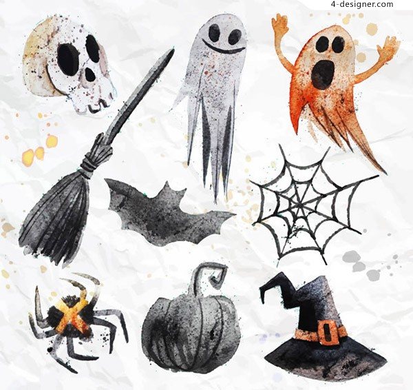 Water painting Halloween elements