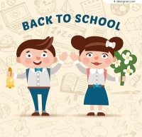 Cartoon back to school students