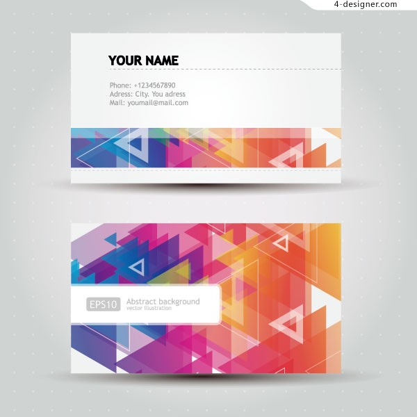 Colorful geometric pattern name card