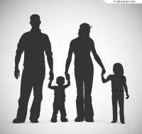 Family of four silhouettes