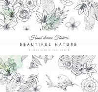 Hand painted natural flowers and birds