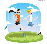 Running men and women vector
