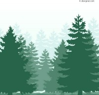 Silhouette of green forest