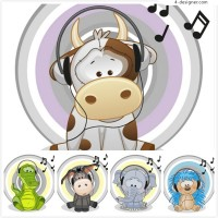 Cartoon animals wearing headphones