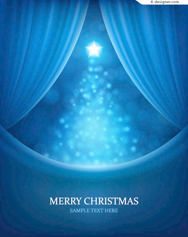 Background of blue Christmas curtain