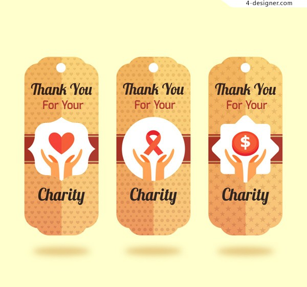 Collection of charity labels