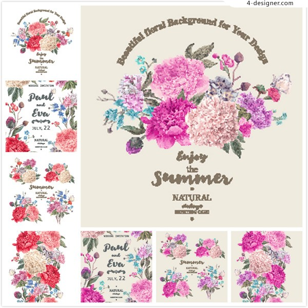 Hand painted flower plant vector