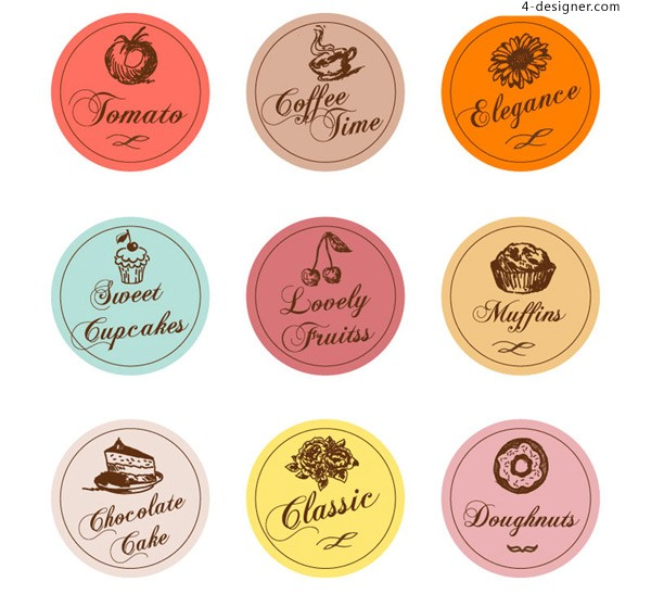 Hand painted food label vector