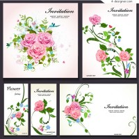 Pink rose invitation card