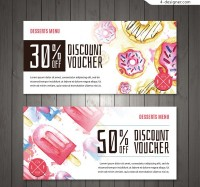 Promotional cards for watercolor desserts
