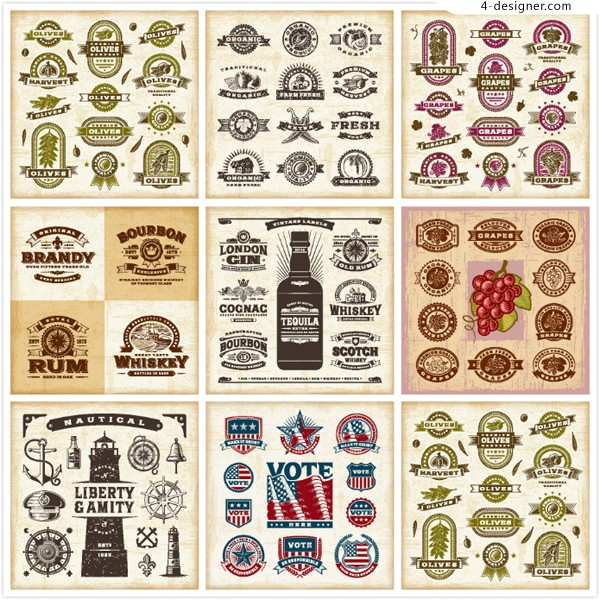 Retro decorative labels