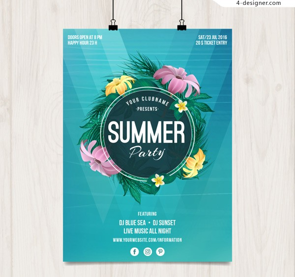 Summer party poster for flowers