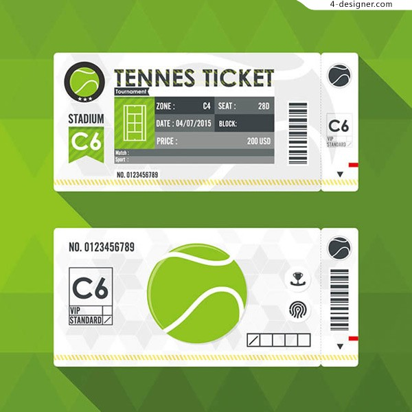 Tennis ticket vector