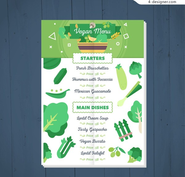 Vegetable background menu