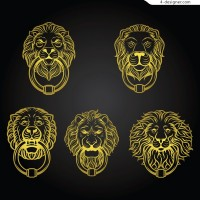 Yellow lion shaped knocker vector