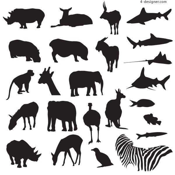 Black and white silhouette of animals