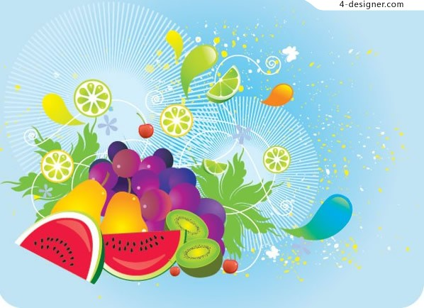 Colorful fruit trend elements