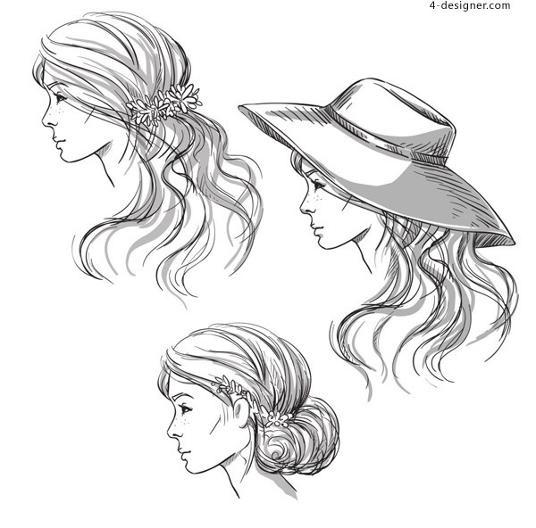 Hand painted hair vector