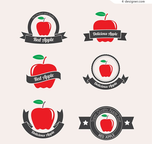 Red apple label vector