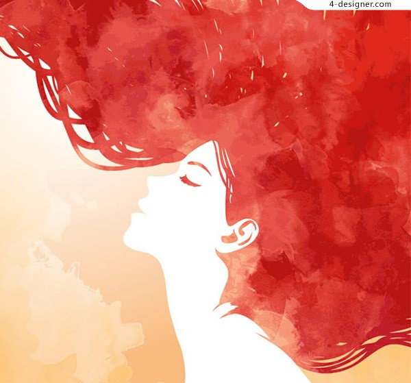 Red hair woman face