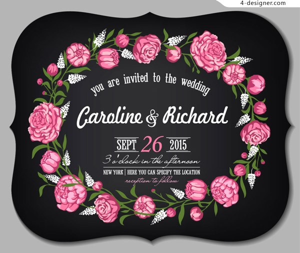 Rose wedding invitation card
