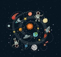Space and astronaut illustration