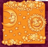 Sun stars moon decoration