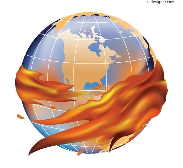 The flame surrounds the earth