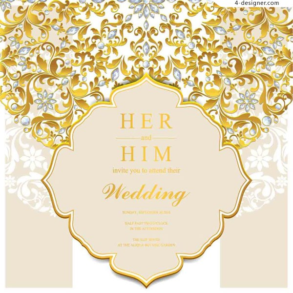 Wedding invitation vector 3