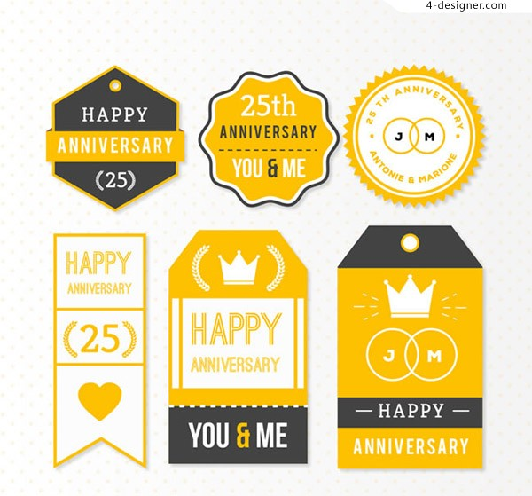 25th anniversary tag vector