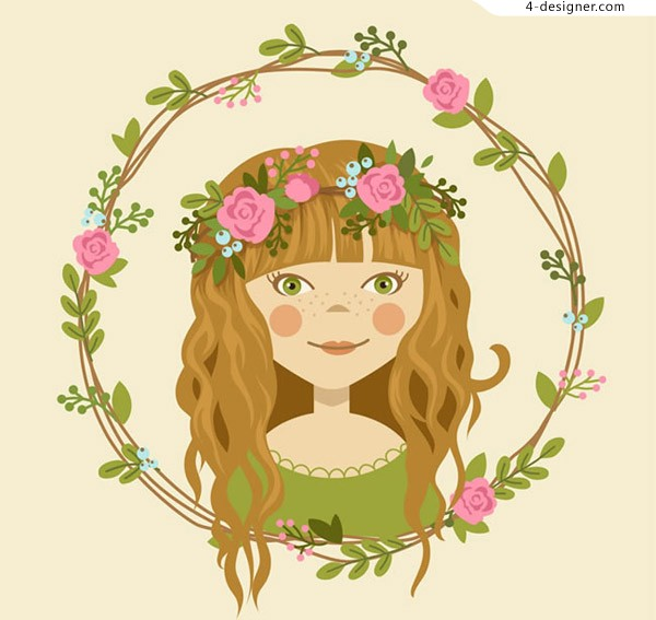 A girl with a garland on her head