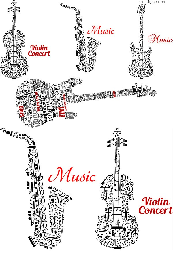 A guitar composed of letters