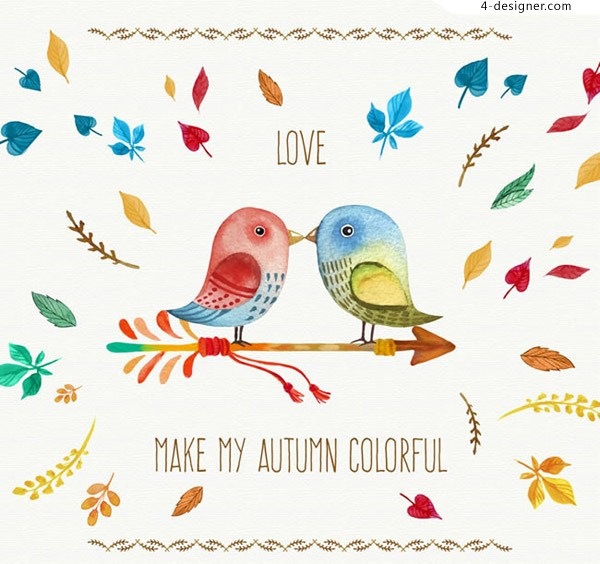 Autumn leaves and lovers birds