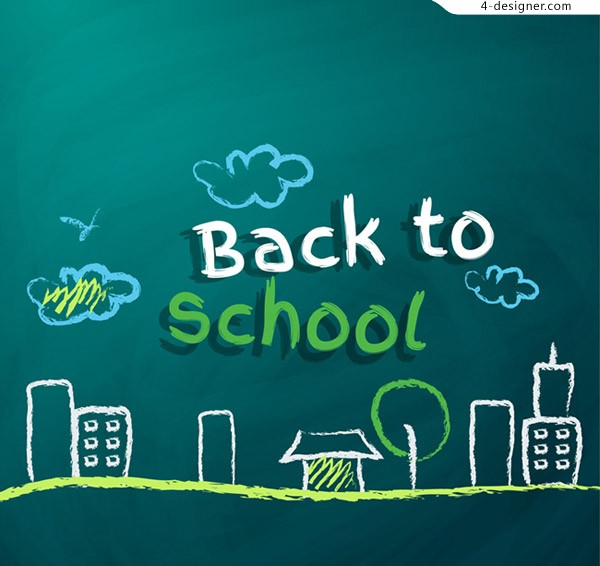 Back to school chalk drawing vector