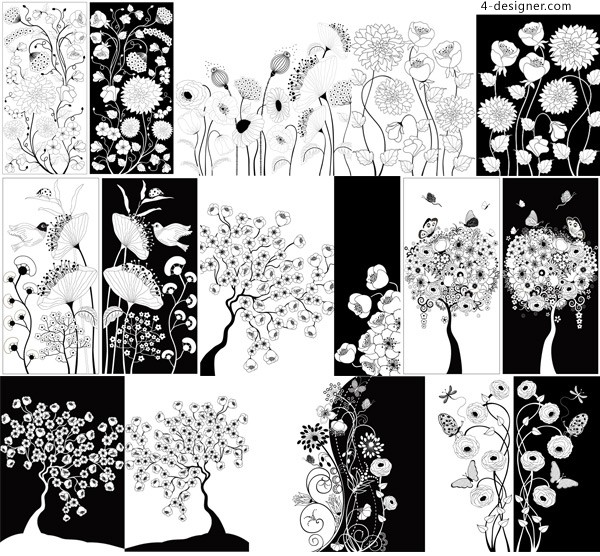 Black and white flower decoration vector