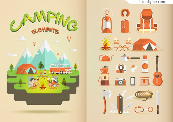 Cartoon camping elements